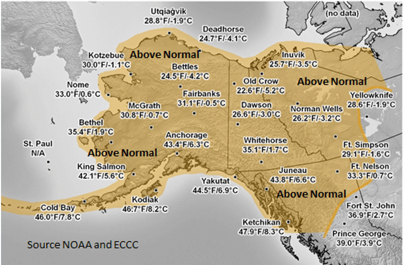 Sept – Nov 2019 Temperature Averages (°F/°C) and Anomalies (Brown = Above / Gray = Near Normal)