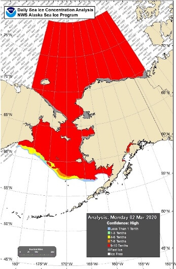 Sea Ice Concentration Conditions & Departure from Normal Conditions 2 March 2020 in the Chukchi and Beaufort Seas