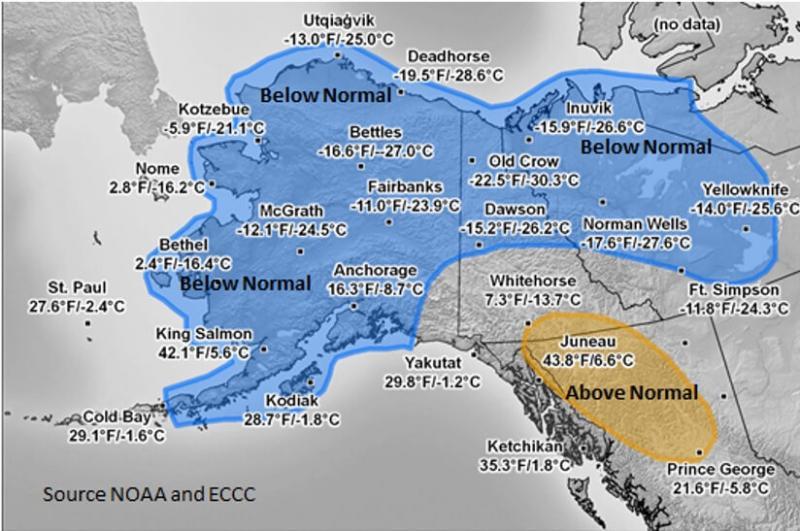 Dec 2019-Feb 2020 Temperature Averages (°F/°C) & Anomalies- Below (blue) /Above (yellow) / Normal(no color).